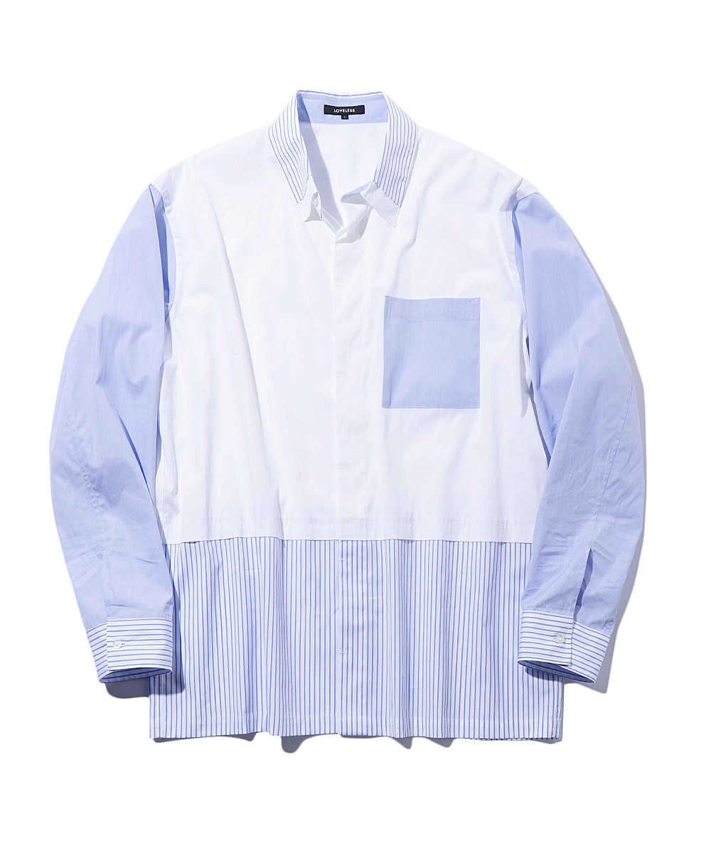 スクエアカットブロッキングオーバーサイズシャツ