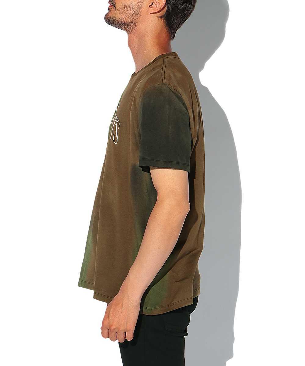 ロゴプリントカモクルーネックTシャツ