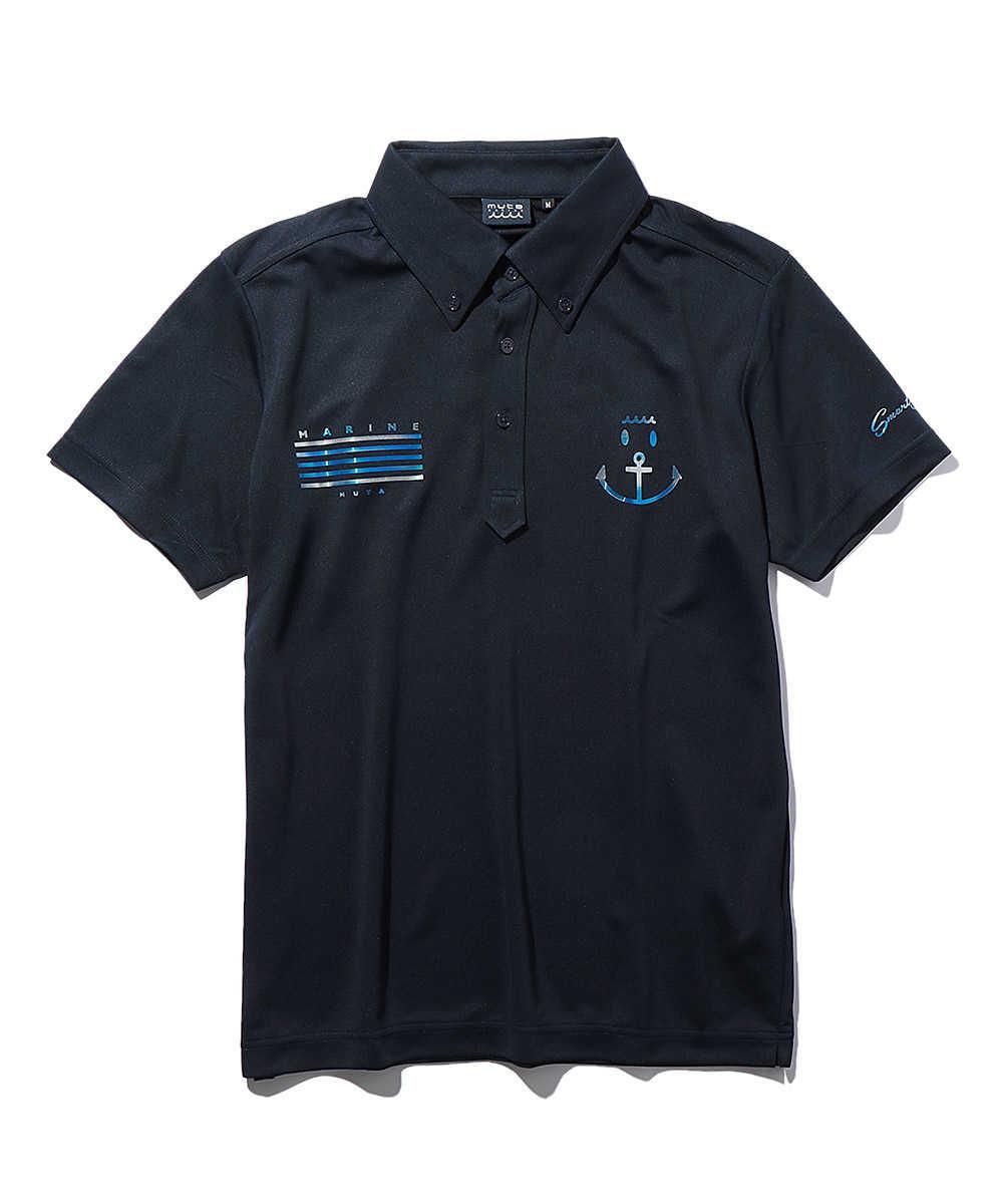 バックロゴプリントポロシャツ