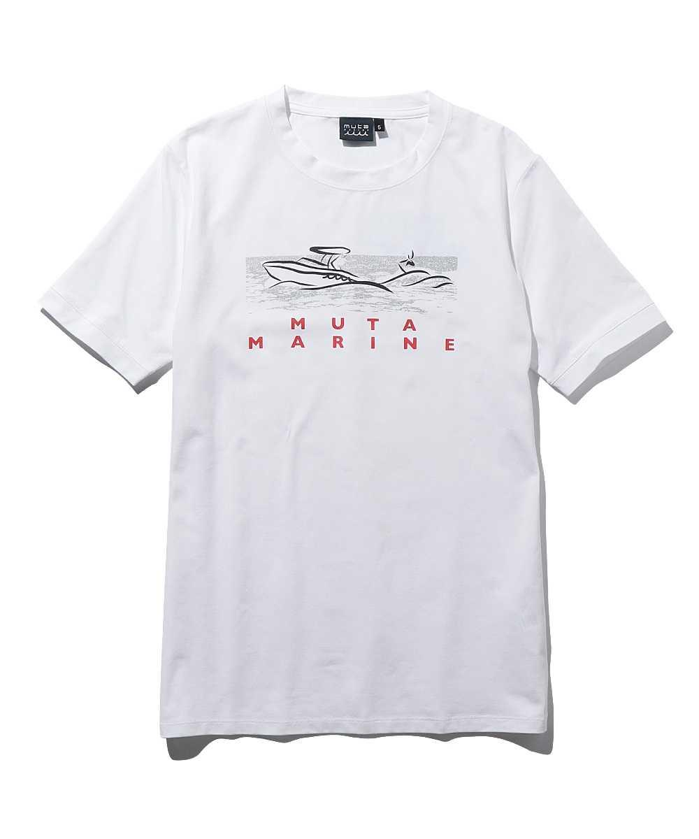 手書き風プリントクルーネックTシャツ