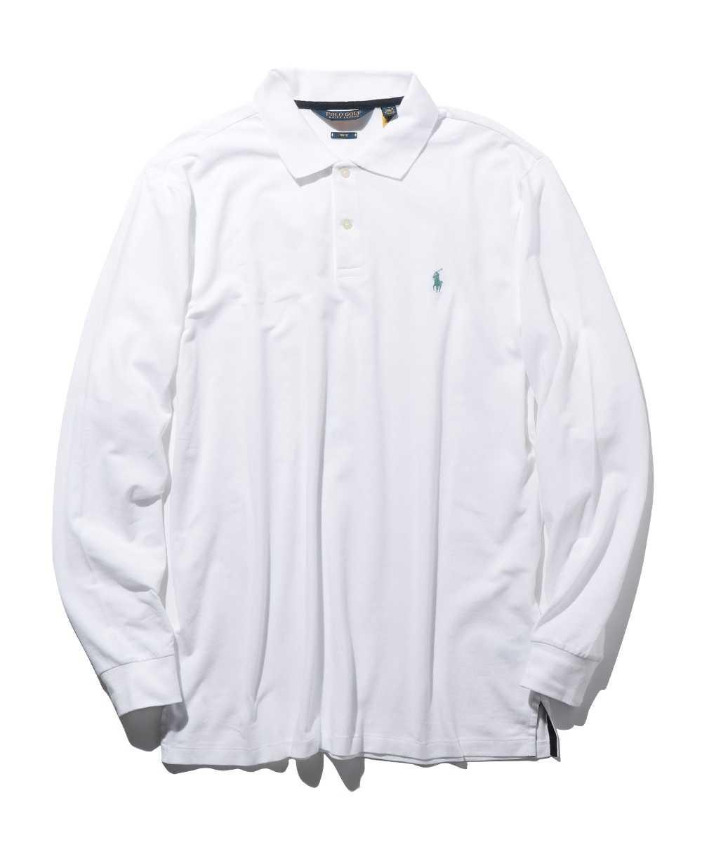 ロゴ刺繍ロングスリーブポロシャツ
