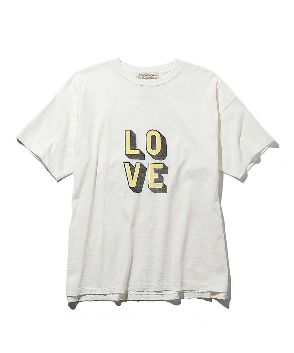 "【Safari × LEONコラボ商品 別注・限定商品】""LOVE""レタードプリントクルーネックTシャツ"