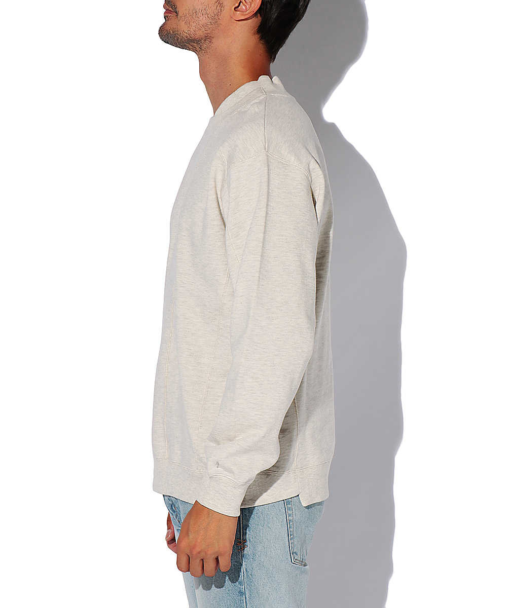 Wネックコットンスウェットシャツ