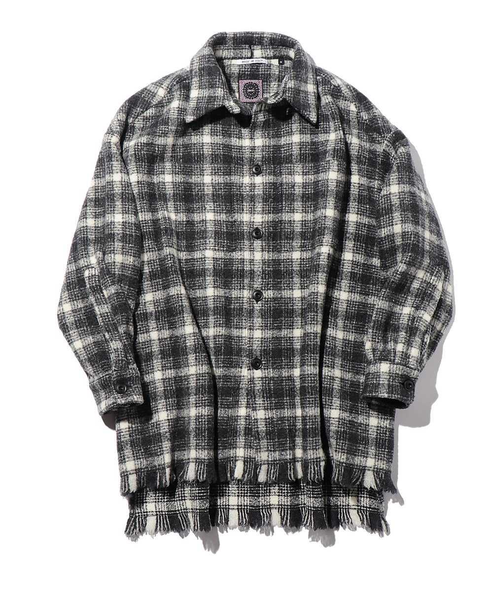 カシミヤフリンジチェックシャツ