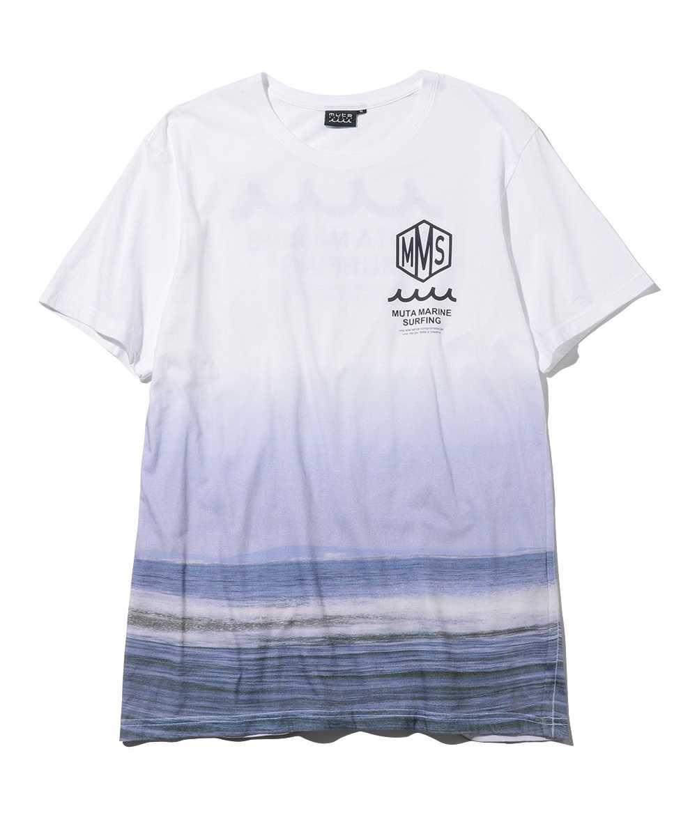 グラデーションロゴプリントクルーネックTシャツ
