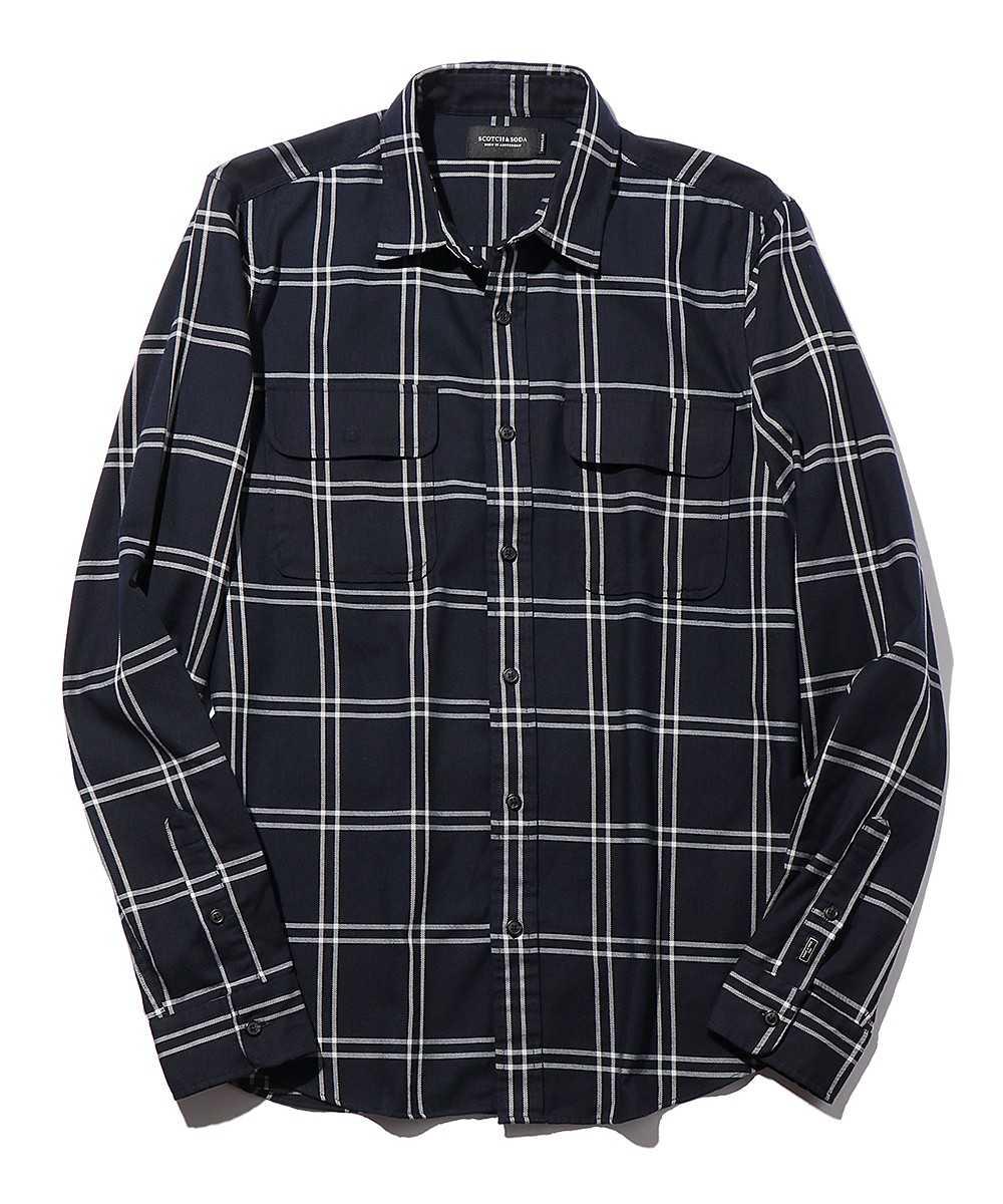 フラップポケットツイルチェックシャツ