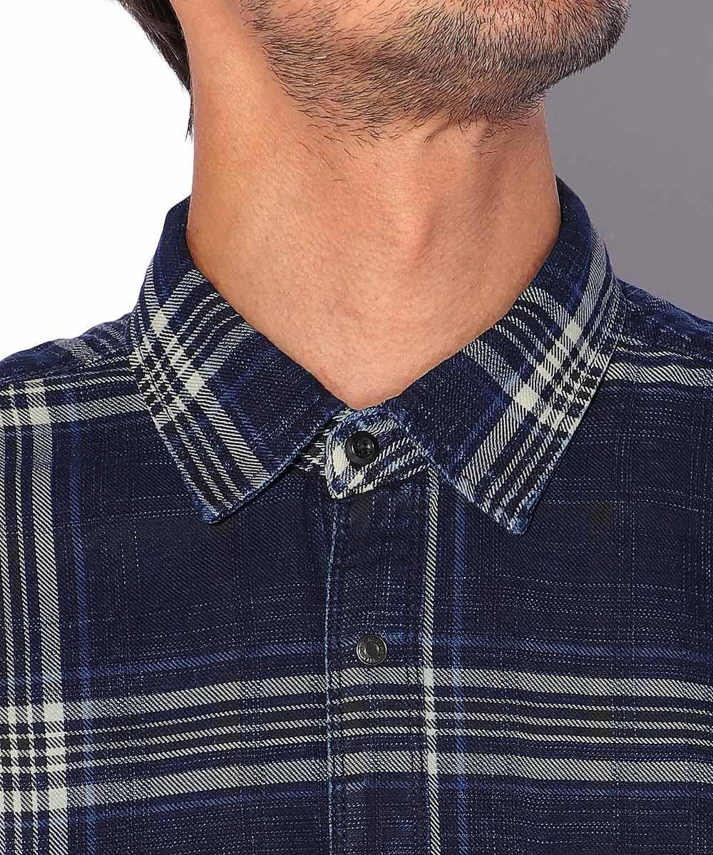 インディゴチェックコットンツイルシャツ