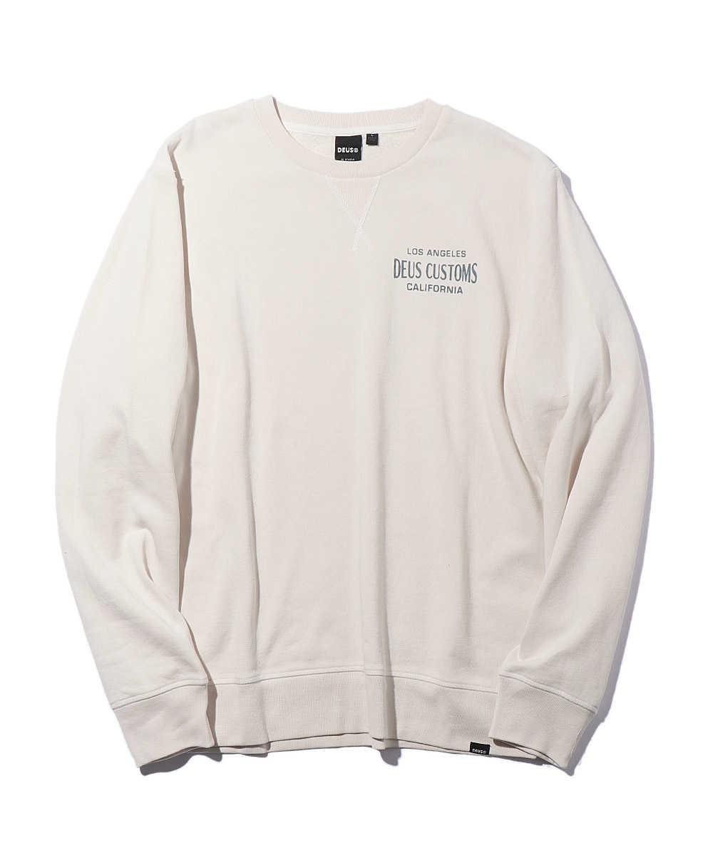 ウォッシュ加工ロゴプリントスウェットシャツ