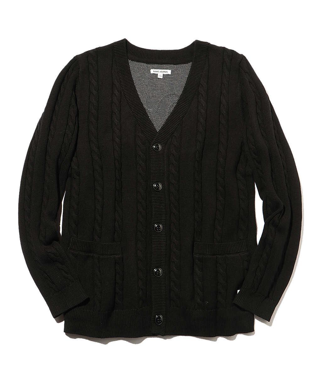 パームツリー刺繍ケーブル編みカーディガン